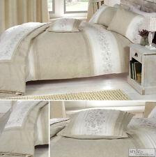 brodé Lin Naturel Set Couvre Lit Couette ou couvre-lit matelassé Jeté de lit