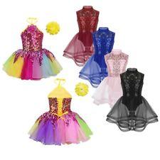 Girls Sequined Dancing Skating Dress Mock Neck Dancewear Jazz Hip-hop Costume