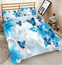 Blue Butterfly 3D Printing Duvet Quilt Doona Covers Pillow Case Bedding Sets