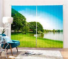 Green Lake Garden 3D Blockout Photo Mural Printing Curtains Draps Fabric Window