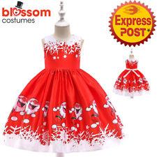 K702 Girls Red Sleeveless Santa Christmas Snowflake Party Kids Dress Up Xmas