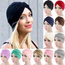 Womens Knot Turban Hair Indian Kerchief Bandana Chemo Head Cover Soft Hat Cap