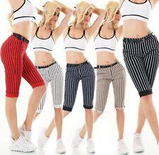 Italy Capri Bermuda Shorts Shorts Stretch Striped Belt S M L XL XXL