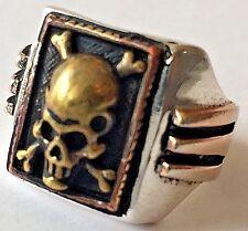1930s 1940s 1950s Mexican Biker Novelty Art Deco Sides Skull Ring Rockabilly