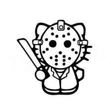 "5"" HELLO KITTY JASON Vinyl Decal Sticker Car Window Laptop Friday 13th Halloween"