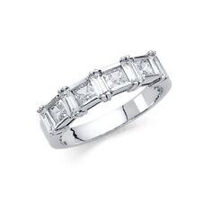 14K Solid White Gold Square Princess Cut Diamond Engagement Ring Wedding Band