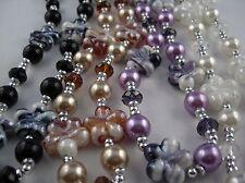 Edle Perlen Kette mit marmorisierten Glas Blüten TL ca 86 cm Farbauswahl