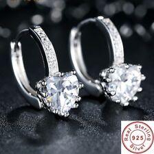 Women 925 Sterling Silver Heart Earrings Crystal Rhinestone Fashion Jewelry Stud