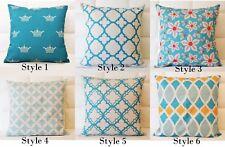 Aqua Home Decor Vintage Linen Cotton Cushion Cover Throw Pillow Case 45x45cm