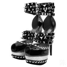 Women's Peep Toe Rivets Platform High Heels Nightclub Stilettos Shoes Sexy Club
