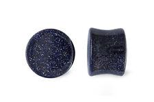 Pair Blue Goldstone Glass Plugs Gauges