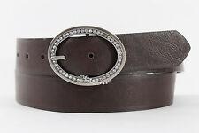 Women Fashion Belt Dark Brown Faux Leather Oval Metal Bling Classy Buckle L XL