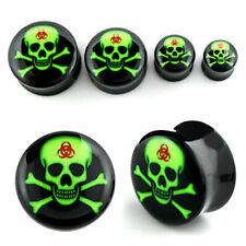 Pair Black Acrylic Flared Saddle Logo Neon Green Toxic Skull Punk Goth Ear Plugs
