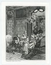 ANTIQUE ELIZABETHAN COSTUME ORNATE PARLOR WOMAN MAN CLOCK MINIATURE ART PRINT