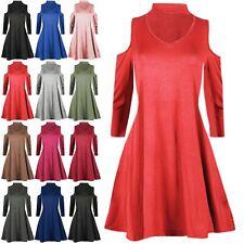 Womens Choker V Neck Cold Cut Out Shoulder Ladies Flared Franki Swing Mini Dress