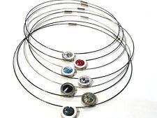 Bijou  acier tendance collier câble  cristal rose, bleu, noir  necklace