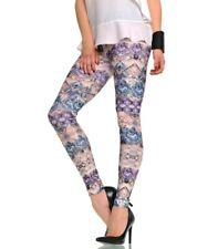 sexy hot Girls Leggings Leggins mit Ornament Rosen Blumen Muster in Lila