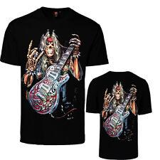 Uomo Gotico T-Shirt Reaper Chitarra Rock Band Skull Glow in Scuro Stampa Fronte Retro