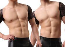 Brand New Sexy Lingerie Men Black Dance Quality Net Sleeveless Waistcoat Vest