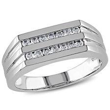 Amour 10k White Gold 1/3 Ct TDW Diamond Men's Band Ring G-H I1-I2
