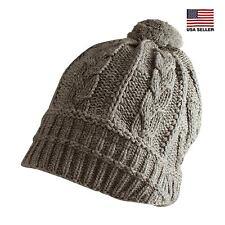 Crochet Knit Beanie Cap Pom Pom Warm Ski Winter Hat Casual Womens Mens Unisex