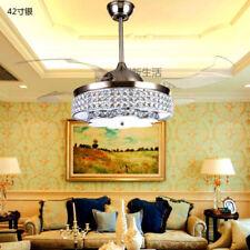 "Y.C 42""LED crystal invisible ceiling fan light restaurant fan chandelier lamp"