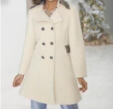 Women's Winter Fall Embellished Beaded Ivory Wool Blend Coat Jacket Plus 2X XL L