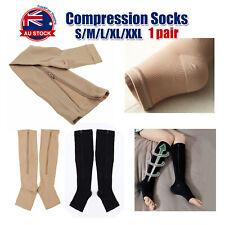 Zip Sox Compression Socks Zipper Leg Support Knee Open Toe Shaper Stockings A