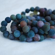 Grade A Natural Indian Agate Mat Givré Gemme Perles Rondes 4 mm 6 mm 8 mm 10 mm