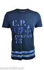 CP COMPANY Hombre Pintado a mano Camiseta azul marino (cpts001a)