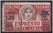 LIBIA 1936 ESPRESSO L. 1,25 su c. 60 n° 17a VARIETA' CENTRO SPOSTATO E RIPORTO