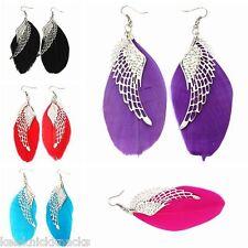 Silver Angel Wing Feather Dangle Earrings. Red White  Black Pink Blue Purple