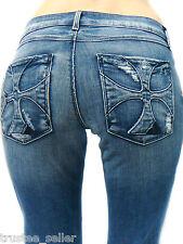 HABITUAL Designer Brand Womens Vintage Destroyed Cross Logo Pocket Jeans Geena