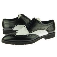 Corrente 2401 Wingtip Spectator Derby, Men's Dress Leather Shoes, Black/White
