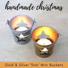 x5 MINI 'STAR' TIN BUCKET - choose gold silver - tealight holder Christmas deco