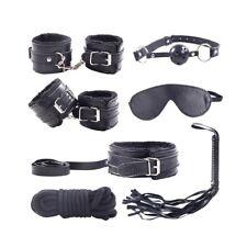 Bed Bondage Set Kit Hand Ankle Cuffs Collar Whip Eye Mask Kinky Restraint Toys