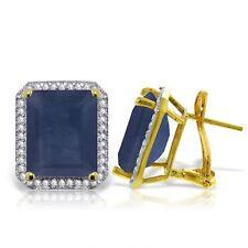 Genuine Emerald Cut Sapphires & Diamonds Halo Style Stud Earrings 14K Solid Gold