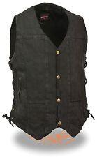 Men's Black Classic 8 Pocket Snap Front Denim Vest with Side Lace & Gun Pocket