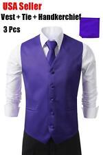 Purple Men's Formal Casual Dress Vest Tie Slim Suit Tuxedo Waistcoat Coat SET