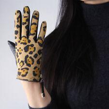 Real Leather TECH Gloves Leopard Suede Wrist Genuine Sheepskin Brown Tan Women