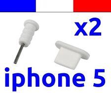 2 LOT BLANC anti-poussière cache capuchon bouchon lightning pour iphone 5 5C 5S