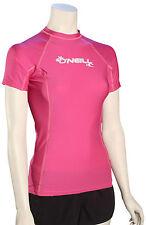 O'Neill Women's Basic Skins SS Rash Guard - Fox Pink - New