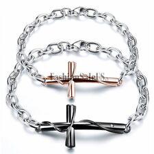 Couples Men's Women's Stainless Steel Cross Charm Bracelet Chain Valentine Gift
