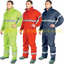 Hi Viz Waterproof Rainsuit Mens Set High Vis Visibility Jacket Trouser Work Kit