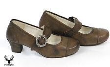 Damen Trachtenschuhe Trachten Pumps Dirndl Schuhe Echt Leder Nubuk gespeckt