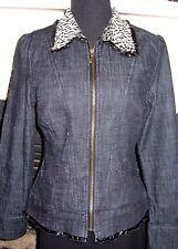 Live-a-Little Ruffle Leather Trim Stretch Dark Denim Jacket w/Leopard Fur Collar