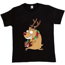 Naughty Rudolph Naso Rosso ruba regali di Natale Divertente T-shirt da uomo