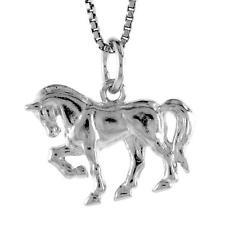 "Sterling Silver Arabian Horse Pendant / Charm, 18"" Italian Box Chain"