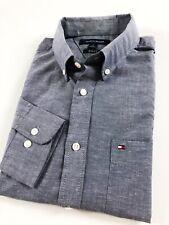 TOMMY HILFIGER Shirt Men's Slim Fit Indigo End-On-End Long Sleeve 780364
