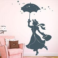 12239 Pegatina pared Mary Poppins paraguas estrellas Dormitorio Infantil Cómic